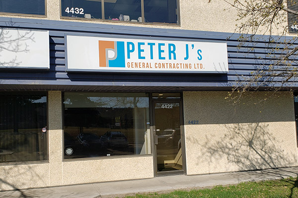 Store front of Peter J's General Contracting